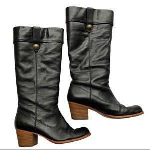 Coach Fayth Black Leather Heel Boots Size 9